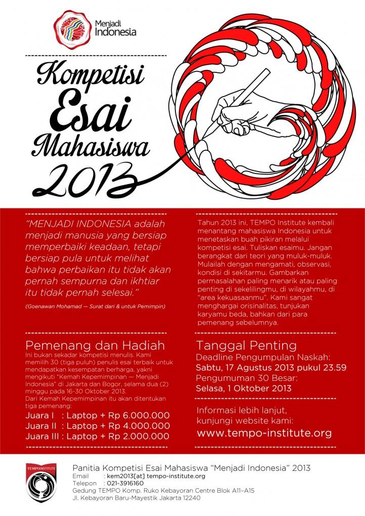 """Kompetisi Esai Mahasiswa 2013 """"Menjadi Indonesia"""""""