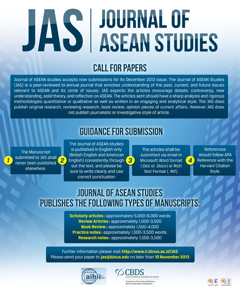 Call For Paper Journal Of Asean Studies