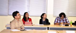 dari kiri ke kanan: Achmad Soekarsono (Media dan Multikulturalisme), Mutti Anggitta (Arsitektur Keamanan Global), Dayu Nirma (Pemikiran Ekonomi Politik), Wendy Prajuli (Pengantar Kajian Keamanan)