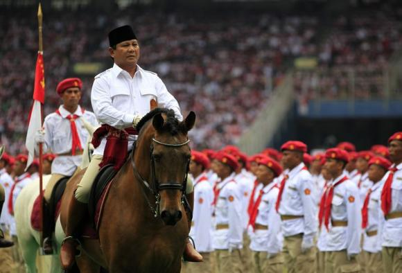 File photo of Prabowo riding a horse during a campaign rally in Jakarta