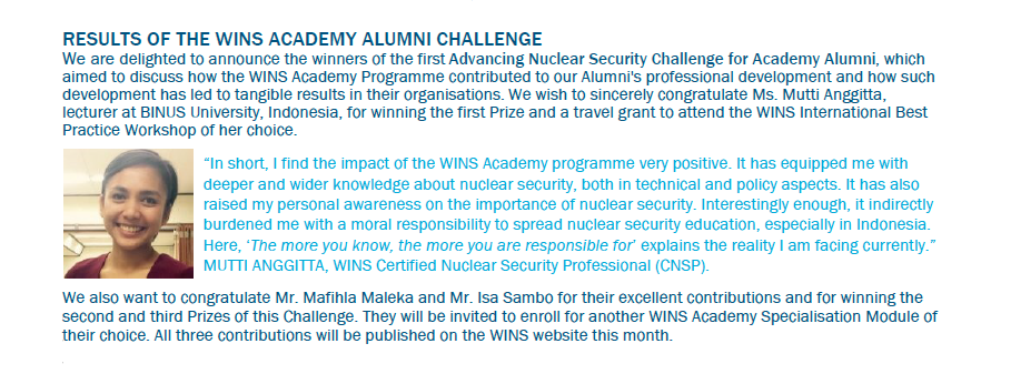 Mutti Anggitta - Juara 1 Essay Competition World Institute for Nuclear Security (WINS)