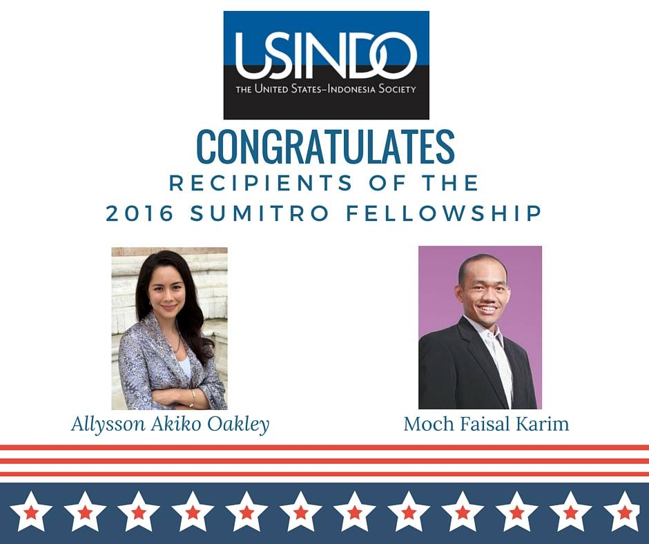 USINDO congratulates Moch Faisal Karim as the recipient of the 2016 Sumitro Fellowship