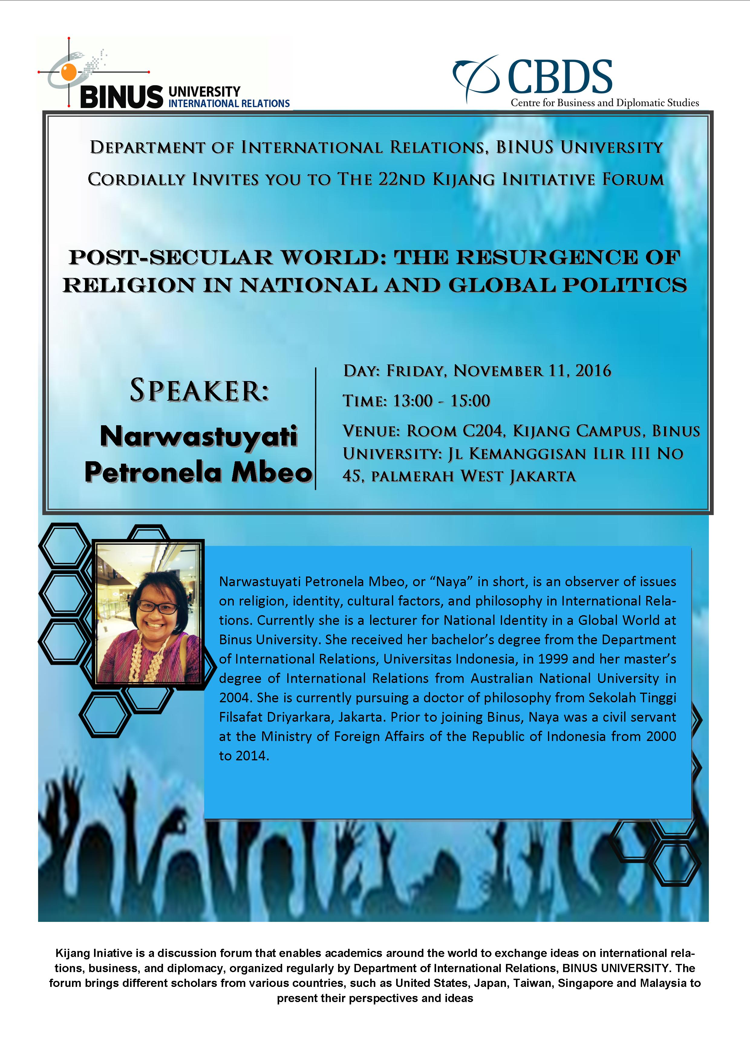 """Invitation to the 22nd Kijang Initiatives Forum """"Post-Secular World: The Resurgence of Religion in National and Global Politics"""""""