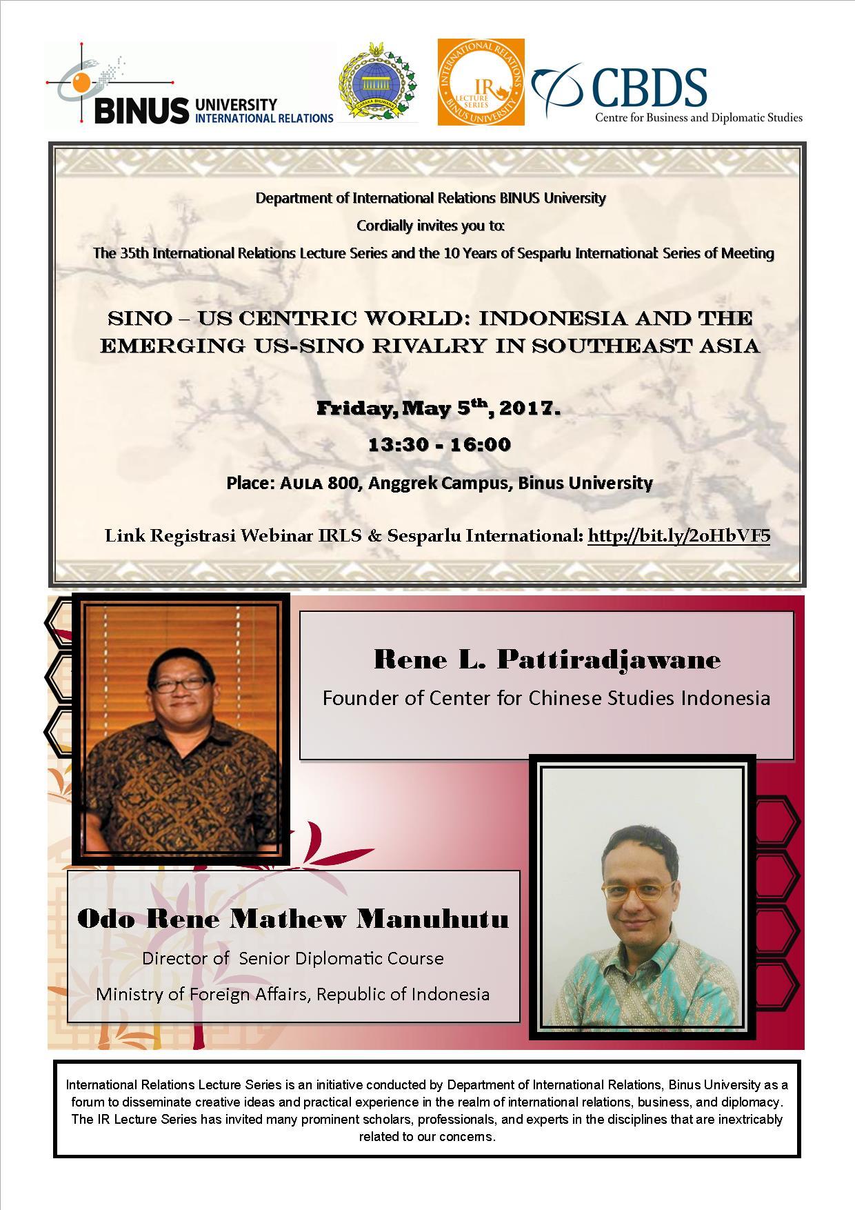International Relations Lecture Series (IRLS) & 10 Years of Sesparlu International: Series of Meeting