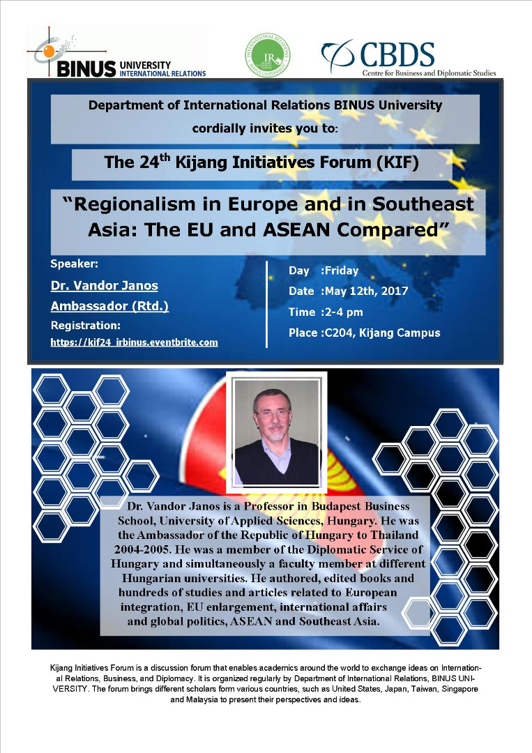 """Invitation to the 24th Kijang Initiatives Forum """"Regionalism in Europe and in Southeast Asia: The EU and ASEAN Compared"""""""