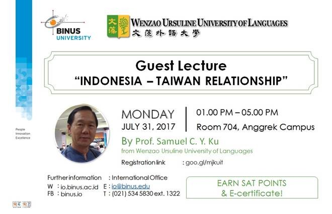 "Guest Lecture ""INDONESIA – TAIWAN RELATIONSHIP"""