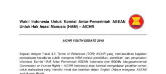 Pendaftaran Delegasi Indonesia untuk AICHR Youth Debates 2018 di Kamboja